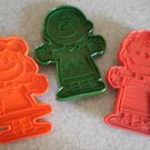 Vintage Peanuts Cookie Cutter Lot 3 Charlie Brown Linus Lucy Plastic