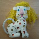Vintage Felt Ornament Lion Handmade Sequins Cat Yarn White