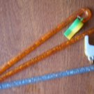 Vintage Swizzle Sticks Whistle Plastic Yellow Blue Stirrers