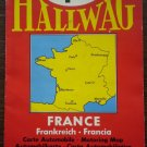 Hallwag Bern France Motoring Map 1955 Vintage Color