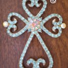 Pendant Cross Crucifix Rhinestones Blue Earrings Necklace