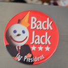 Back Jack For President Button Pin Election Restaurant Pinback JIB Jack in the Box 1996