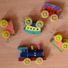 Vintage Cake Topper Train 5-pc Candle Holders Birthday Japan Painted Wood