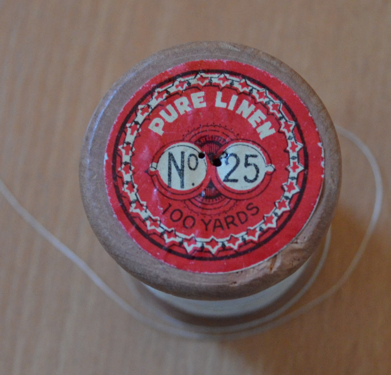 Vintage Linen Thread Charles Brown Machine #25 Wood Spool Belgium Off-White