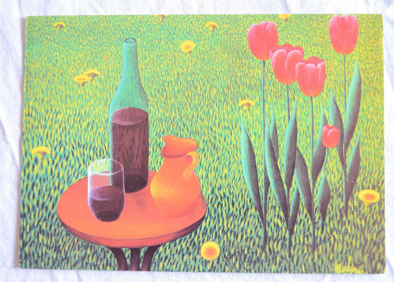 Vladimir Bedenikovic Note Card Glass of Wine Vintage West Germany Schurman