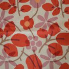 KRAVET Pengua 716 Linen Remnant Sample Fabric Large Red Flowers 2pc 24x26 24x36