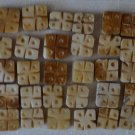 """Vintage Carved Bone Square Beads Lot 40 Thick Flower? 1/2"""" Handcrafted"""