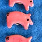 Vintage Set 3 Ceramic Button Covers Pig PIggy Handmade