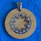 Milo Sterling Silver Vintage Wood Sun Round Pendant 925 Italy