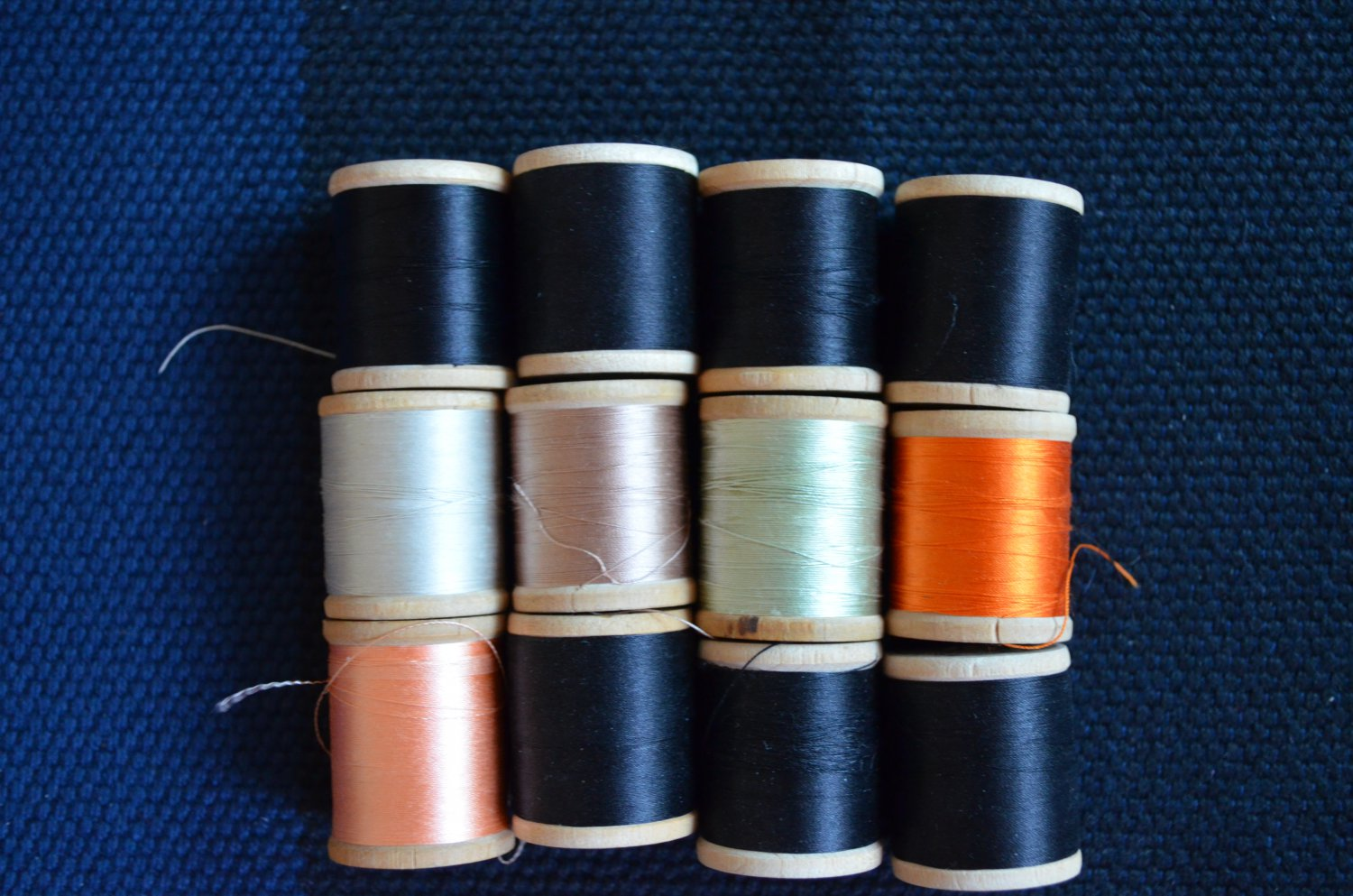 Vintage Wood Spool PURE Silk Thread Lot 12 Belding Corticelli Size A 50 100 yds