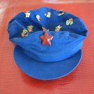 Vintage Chinese Cap 15 Pins Panda Flags Blue Hat 58 Wings Red Star