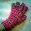 Hot Pink and Silver Striped Womens Gloves