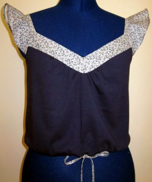 Misses Navy Jersey Top with Calico Trim