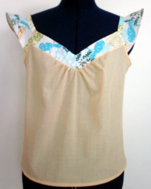 Misses Cami with Flounce Sleeves and Contrast Trim