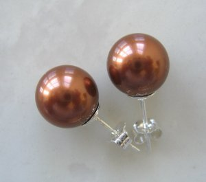 10mm Brown South Sea Shell Pearl Earrings FREE SHIPPING
