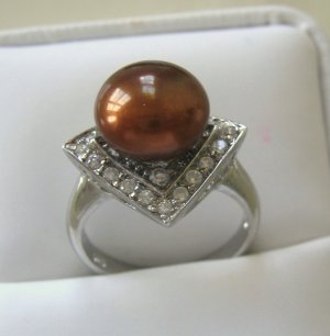 10-11M CULTURED Brown PEARL & CUBIC ZIRCONIA ART DECO RING