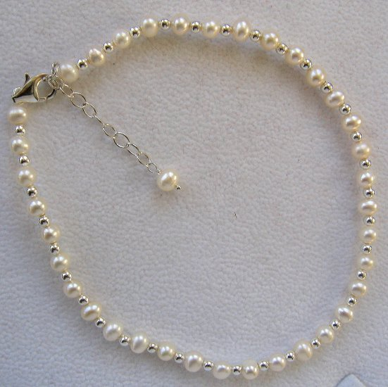 "Cultured Pearl & Sterling Silver 10""-12"" Ankle Bracelet"