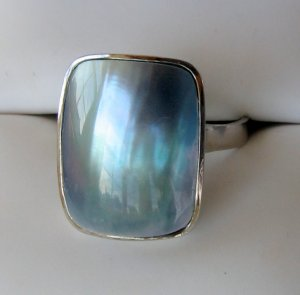 NEW   Blue Mabe Pearl Sterling Silver Ring