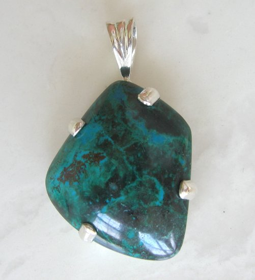60.95 ct Chrysocolla Gemstone Sterling Silver Pendant