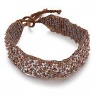 Brown Glass Seed Bead Choker Necklace