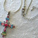"Crystal Cross Pendant 1.75""; 16"" Necklace w/3"" Extender"