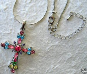 """Crystal Cross Pendant 1.75""""; 16"""" Necklace w/3"""" Extender"""