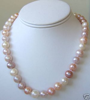 10-11mm White, Pink, Lavendar Cultured Pearl Necklace