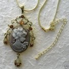 Gray & White Cameo & Crystal Pendant Necklace