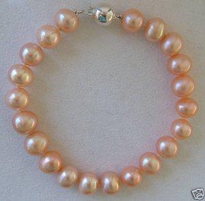 "9.5"" Pink Cultured Pearl Bracelet - 11-12mm Pearls!"