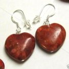 Heart Shaped Red Coral Earrings Sterling Silver 925