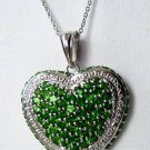 4.60 CT Chrome Diopside Sterling Silver Heart Pendant