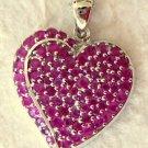 4.95 CT Genuine Pink Sapphire Silver Heart Pendant
