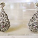 Genuine Ruby Accent Sterling Silver Earrings