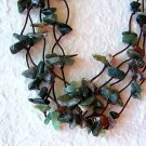 8mm Green Agate Beaded Necklace Sterling Silver Clasp