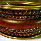 Antiqued Brass and Wood Fashion Bangle Bracelets Set
