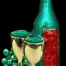 Christmas New Years Wine Glass & Bottle Pin Brooch