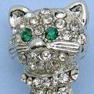 Silver Tone Crystal Cat Pin Brooch w/Green Eyes