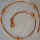 Italy Sterling Silver Rose Gold Bead Ankle Bracelet 9""