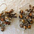 Brown Cultured Pearl Cluster Dangle Earrings
