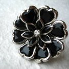 Art Deco Black Flower Adjustable Ring w/Rhinestone