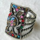 Art Deco Style Rhinestone Ring Size 6 - Antiqued Finish