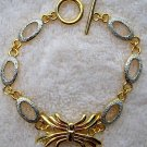 """Two-Tone Silver & Gold Tone Spider Link Bracelet 6-8"""""""