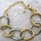 Two-Tone Silver & Gold Tone Hammered Link Bracelet 7-9""