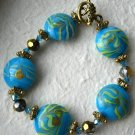 Turquoise Murano Glass Bead Stretch Bracelet