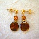 Brown Freshwater Coin Pearl Dangle Stud Earrings