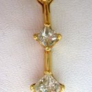 14k Gold 3-Stone Diamond Pendant w/$1050 Appraisal