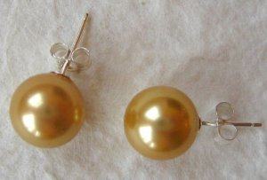 Mother of Pearl Champagne Earring Sterling Studs - 10mm