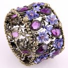 Art Deco Style Stretch Cuff Bracelet Purple Crystals