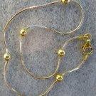 """Italian Sterling & 14k Gold Bead Ankle Bracelet 10"""""""