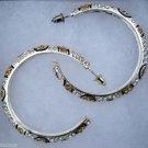 Brown & White Rhinestone Hoop Earrings
